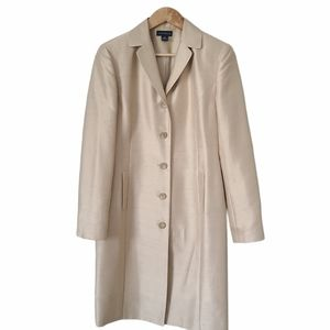 ANN TAYLOR Silk Coat Button Front Champagne